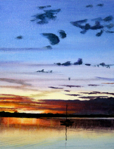 Burrum-River-Sunset-Acrylic-on-Canvas-22.5cmx17.5cm