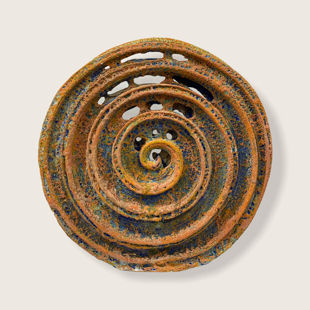 Deep Sea Sprial, Crater Glaze, Colourful Enamels , Multi Fired, 50cm x 48cm x6cm $2000